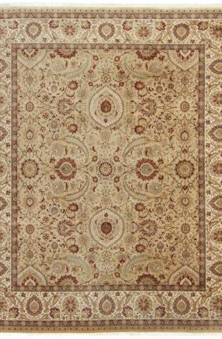 Fine Tabriz Design 8x9 Beige Rust Wool Area Rug