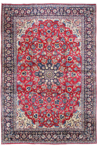 Persian Isfahan 10x14 Red Blue Area Rug