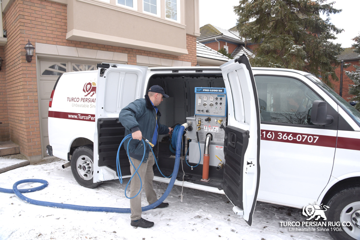 In home carpet cleaning truck