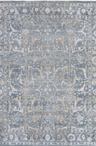 Water Blue Hand Knotted Transitional 8x10 Grey Wool Area Rug