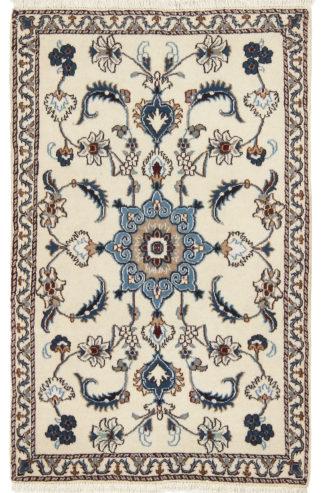 Persian Nain 3x5 Ivory Blue Wool Area Rug