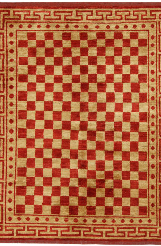 Hand Knotted Checker Darya 4x5 Red Beige Wool Area Rug