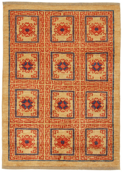Hand Knotted Afghan 3x5 Beige Wool Area Rug