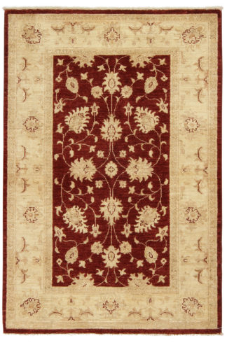Hand Knotted Chobi 3x5 Red Beige Wool Area Rug