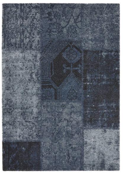 Plush Patchwork Transitional 5×7 Blue Area Rug