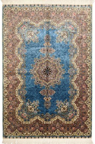 Sino-Persian Qum 3x5 Blue Silk Area Rug