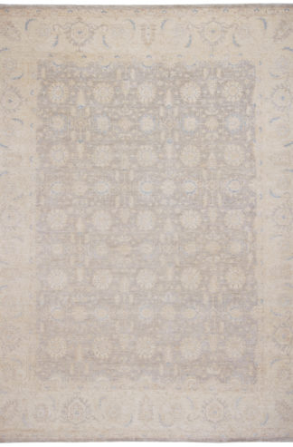Hand Knotted Chobi 9x12 Grey Ivory Wool Area Rug