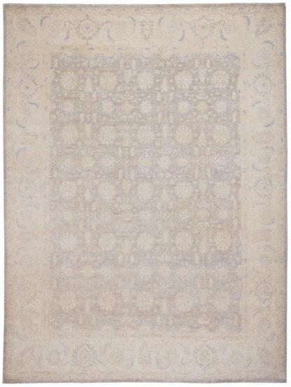 Hand Knotted Chobi 9x12 Grey Ivory Wool Area Rug