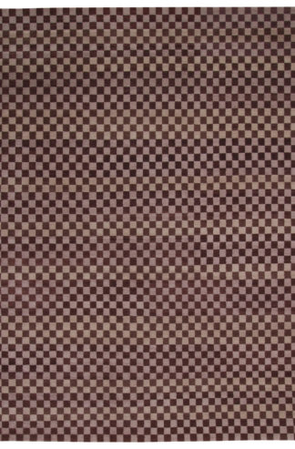 Tibetan Checker 8x10 Brown Beige Wool Area Rug