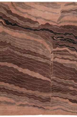 Tibetan Contemporary 9x12 Brown Wool Area Rug