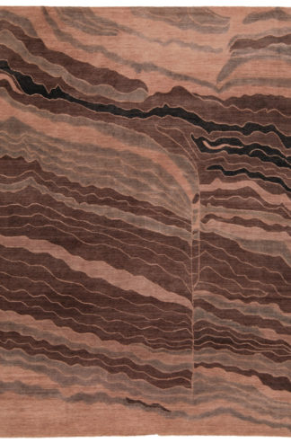 Tibetan Contemporary 8x10 Brown Wool Area Rug