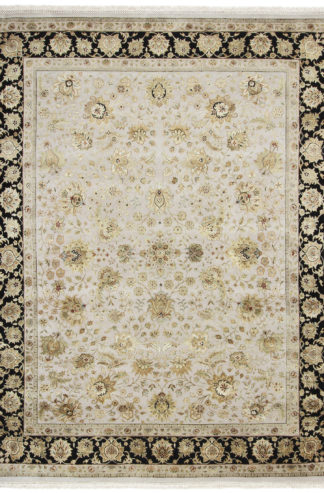 Hand Knotted Fine Jaipur 8x10 Wool Silk Area Rug