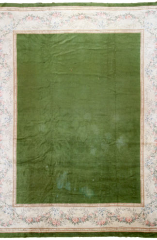 Antique French Aubusson 10x13 Green Wool Area Rug