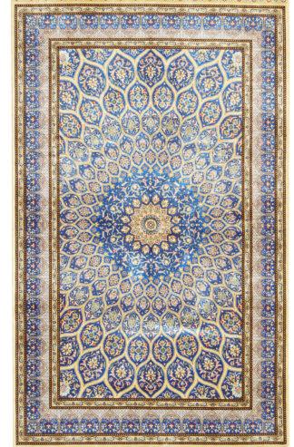 Sino-Persian Qum Design 3x5 Silk Blue Area Rug