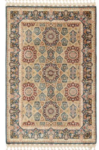 Sino-Persian Qum Design 3x5 Silk Teal Area Rug