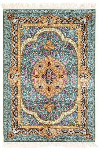 Sino-Persian Qum Design 3×5 Silk Teal Area Rug