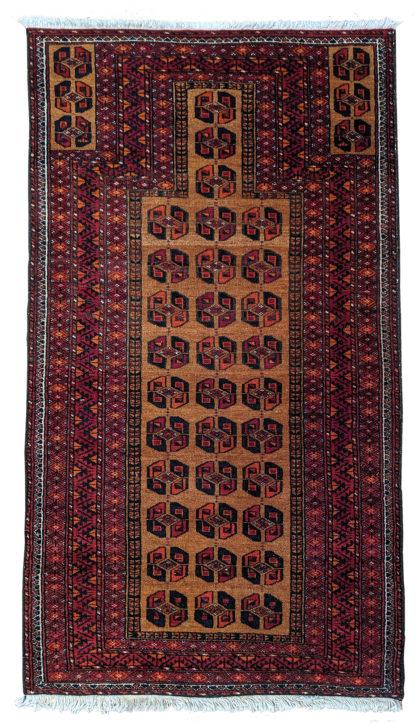 Fine Turkmen Prayer 3x5 Brown Wool Area Rug