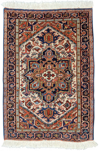 Persian Heriz Semi-Antique 3x4 Red Blue Wool Area Rug