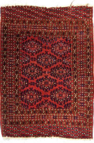 Turkmen Bokhara 3x4 Red Wool Area Rug
