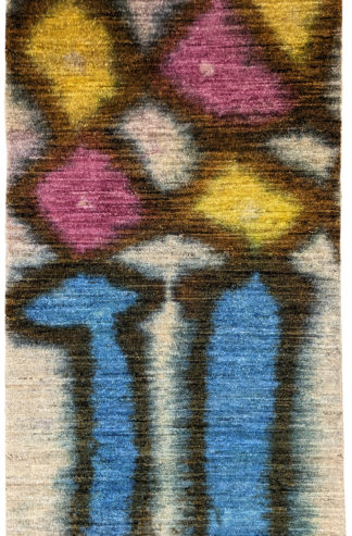 Hand Knotted Contemporary 3×5 Blue Purple Wool Rug