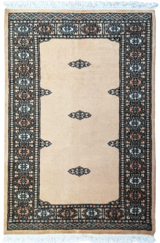 Pakistani Turkmen Design 3×5 Ivory Area Rug