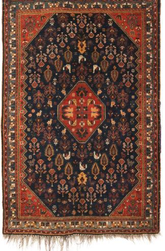 Antique Persian Qashqai 3x5 Blue Wool Area Rug