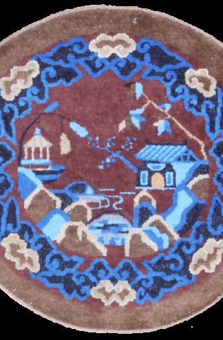 Antique Peking 3' Round Area Rug