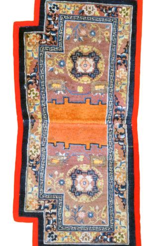 Antique Chinese Saddlebag 2x6 Blue Orange Wool