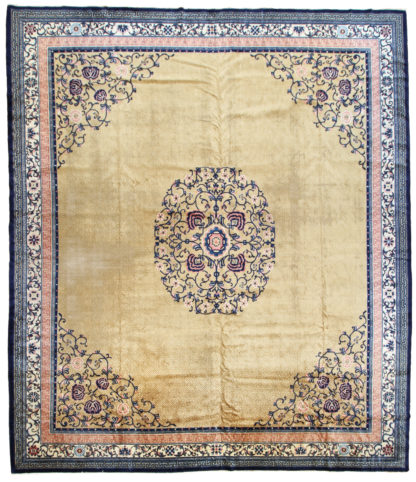 Fine Antique Chinese 14x16 Gold Wool Area Rug