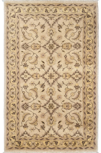 Hand Knotted Chobi 3x5 Gold Beige Wool Area Rug