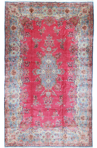 Kerman Aubusson Design 10x16 Pink Wool Area Rug