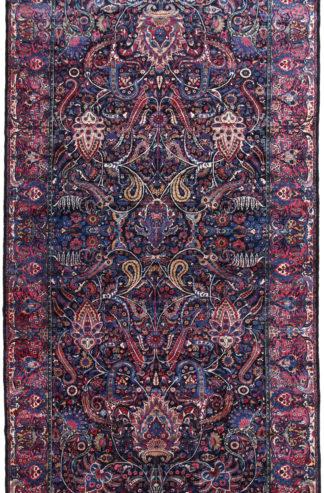 Persian Yazd Semi-Antique 9x20 Blue Wool Area Rug