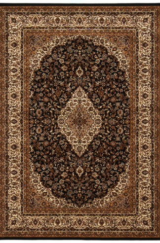 Machine Made Traditional 5x8 Brown Black Area Rug