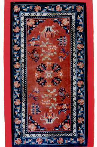Antique Hand Knotted Tibetan 3x6 Rust Blue Area Rug