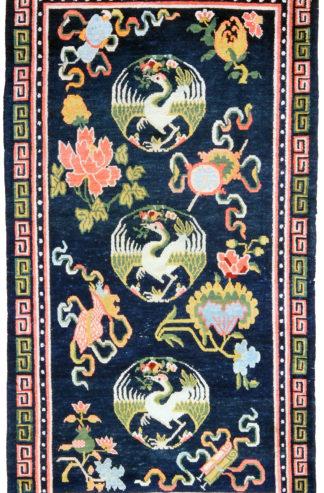 Antique Tibetan Cranes 3x5 Blue Wool Area Rug