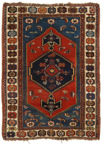 Antique Kurdish 3x5 Red Blue Wool Area Rug