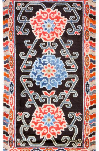 Antique Tibetan 3x6 Blue Red Wool Area Rug