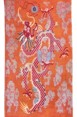 Tibetan Dragon 3x6 Orange Wool Area Rug