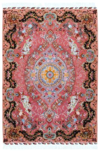 Persian Tabriz 70 Line 5x7 Pink Wool Silk Area Rug