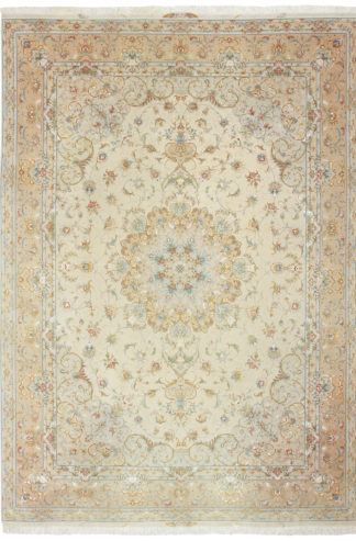 Persian Tabriz Wool Silk 8x12 Ivory Area Rug