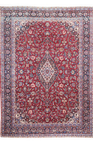 Persian Kashan 9x13 Red Wool Area Rug