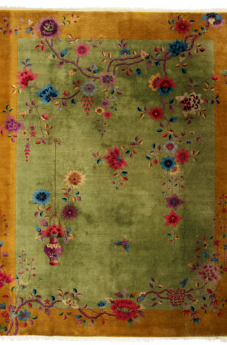 Art Deco Vintage Chinese 9x11 Gold Wool Area Rug