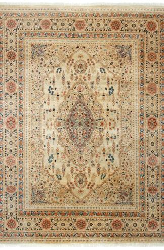 Tabriz Design Pakistan 9x12 Ivory Wool Area Rug