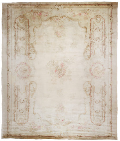 Spanish Savonnerie 13x16 Ivory Wool Area Rug
