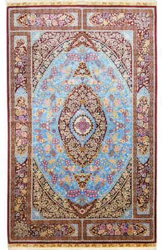 Sino-Persian Qum Design 3x5 Blue Red Silk Area Rug