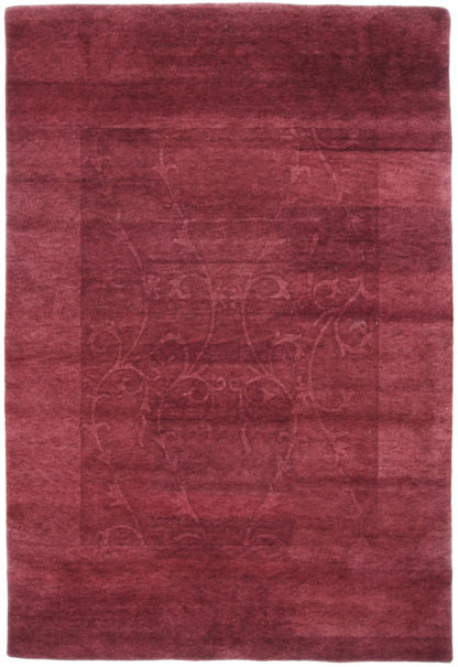 Indian Gabbeh Carved 6x9 Burgundy Wool Area Rug