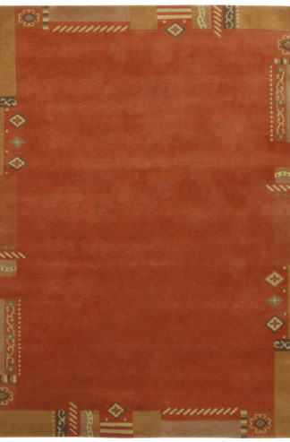 Hand Knotted Nepalese 6x8 Orange Wool Area Rug