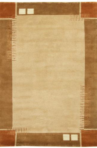 Contemporary Tibetan 6x9 Beige Wool Area Rug