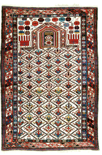 Antique Dagestan c1890 5x6 Wool Prayer Rug