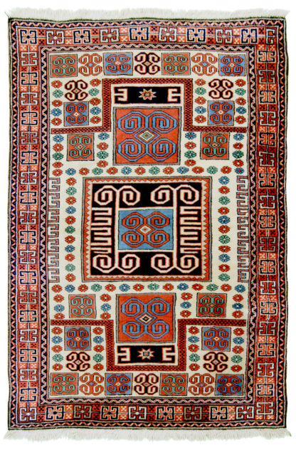 Antique Turkish Bergama 5x7 Red Blue Wool Area Rug